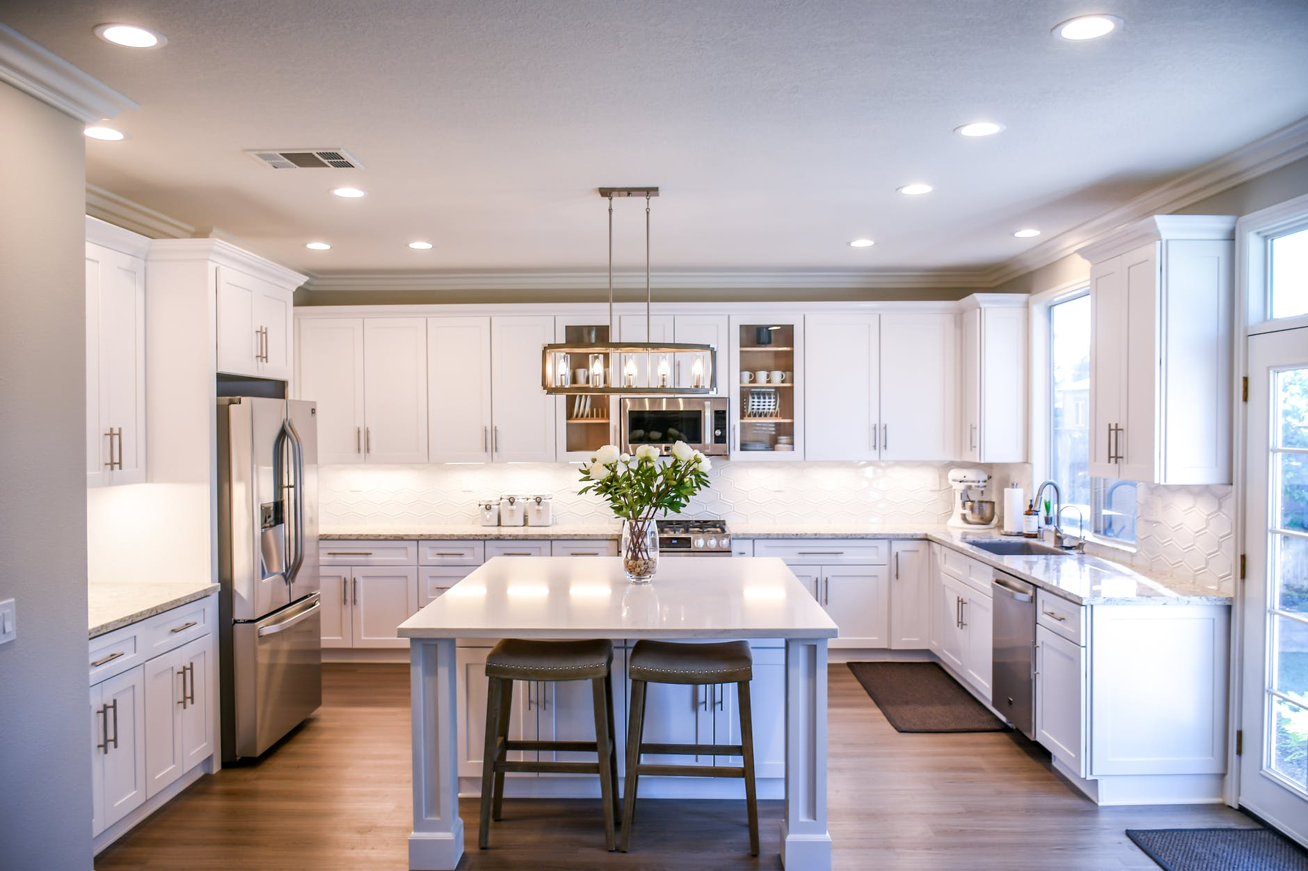 white wooden cupboards